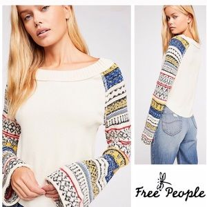 Free People Fairground Bell Sleeve Sweater Top